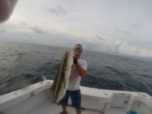 First Mate Trevor Hoff with a Cobia